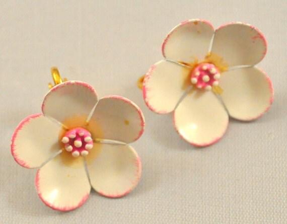 Vintage  Enamel Cherry Blossom Enamel Earrings