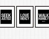 Seek Justice Art 3 Pc. Set Printable Digital Download Scripture Subway Art Courageous Lyrics PDF