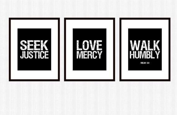 Seek Justice Love Mercy Walk Humbly Black White Modern Office Art Set PRINTABLE  Download Scripture Subway Art Courageous Lyrics Micah 6 8