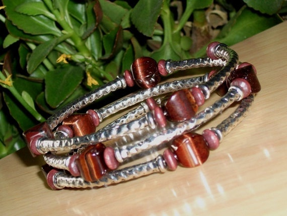 Red Tiger Bracelet- Red Tiger's Eye, mahogany wood, textured Tibetan Silver, memory wire,