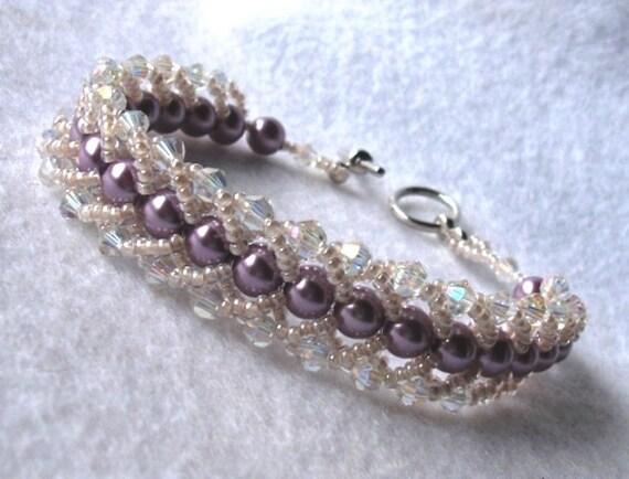 Bellflower bracelet- handmade, flat spiral stitch, lavender, lilac pearls, bridal, prom, wedding, bridesmaid