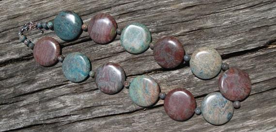 French Roast  & Ultramarine Green Turquoise Necklace- gemstone, Autumn Jewelry, Fall Jewelry, 2012 Trend, Fall Fashion