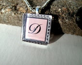 Personalized Necklace - Glass Tile Pendant - Custom Initial in Pink or Black & White