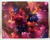 Mixed Media original artwork, wax crayons on canvas, 11x14, black, yellow,pink, purple, Dare to Dream