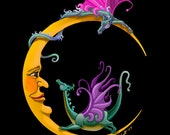 Moon Dragons. dragon, crescent moon, whimsy, baby, giclee. 11x14 unframed limited edition print