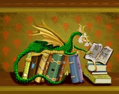 The Librarian. dragon library, bookshelf book victorian.11x14 unframed limited edition art print