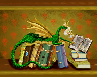 Librarian, book lover, librarian gift, bookworm, dragon art print, dragon wall print, dragon, 11x14 art print.