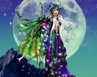 Evil fairy art print, fairy art print, 16x20 framed limited edition art print