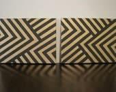 Black & Gold Chevron print canvas paintings (SET)
