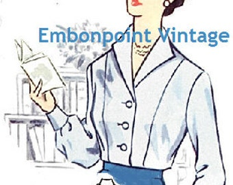 Plus Size (or any size) Vintage 1950s Blouse Pattern - PDF - Pattern No 42a: Connie Blouse