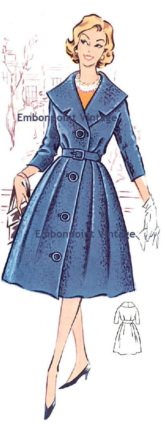Plus Size (or any size) Vintage 1950s Coat / CoatDress Pattern - PDF - Pattern No 18: Brenda