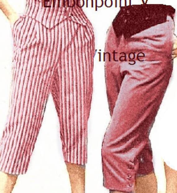Plus Size (or any size) Vintage 1949 Capri pants / pedal pushers Sewing Pattern - PDF - Pattern No 32 Cecilia Pants