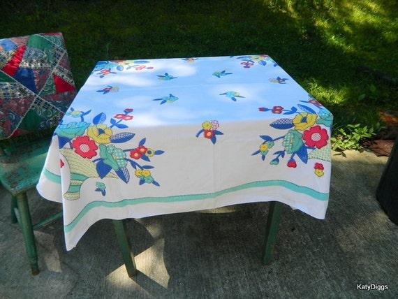 Vintage Country Linen Table cloth Flower Basket design VIVID colors
