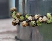 Crocheted Beaded Necklace on Metallic Thread - Rhyolite, Feldspar, Onyx, & Peridot
