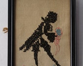 1935 Vintage Cross Stitch Needlepoint Gentleman in Black Bowing with Flowers Original Inscription on Back