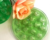 Vintage Green Glass Floral Frogs