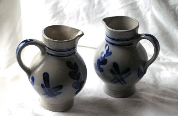 Vintage German Salt Glaze Stoneware - Set of 2 Cobalt Blue & Gray Small Creamer Pitchers by M Schilz