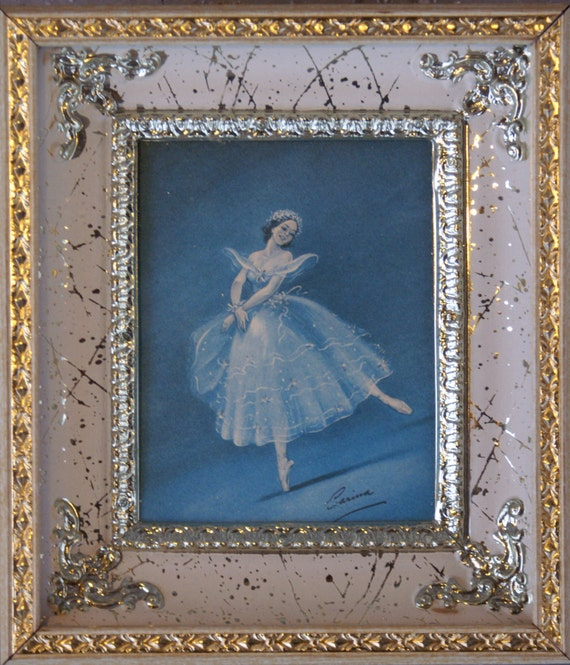Vintage Ballerina Print by Carina Gold Silver and White Metal Shadowbox Frame