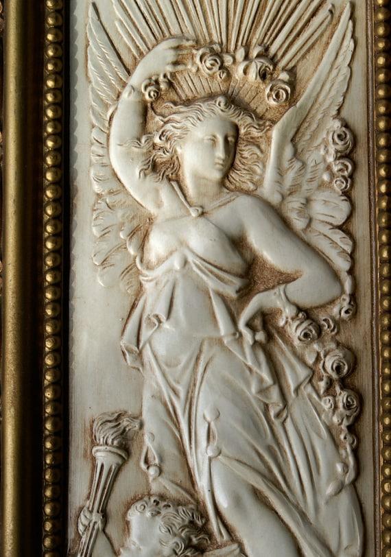 Vintage Homco Angel Wall Hangings Pair of Neo Classical Lady Figures / Angels with Cherubs in Ornate Goldtone Frames