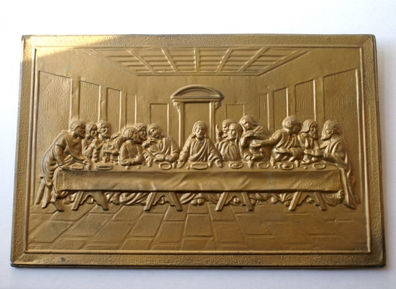Vintage Last Supper Wall Hanging Plaque Embossed Pressed Brass Design Made in England by ELPEC
