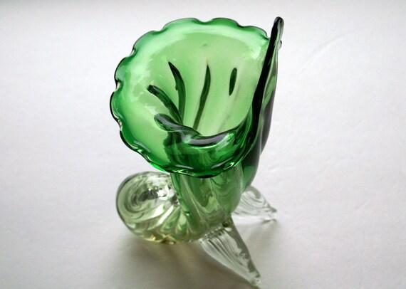 Vintage Italian Murano Art Glass Vase Cornucopia Jack in the Pulpit Green Vase