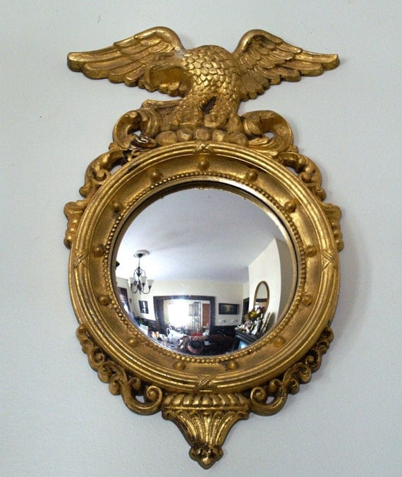 Vintage Federal Style Convex Wall Mirror With Eagle Motif And