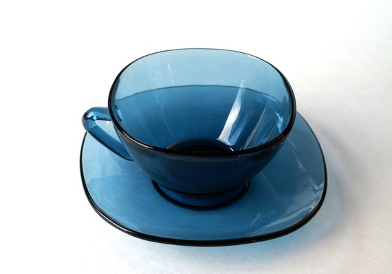Vintage Vereco Coffee Tea Cups Made in France Dark Teal Blue Glass 2 Cups 1 Saucer