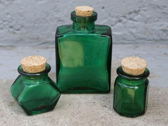 Vintage Green Glass Bottles with Corks Set of 3 Ink Jars