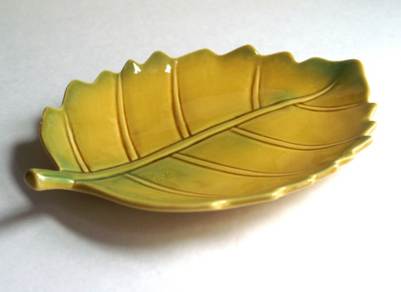 Vintage Pottery Leaf Dish Goldern Mustard Yellow with Green Highlights Stoneware Serving Tray