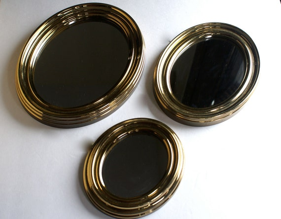 Vintage Goldtone Oval Wall Mirrors Set of Three in Graded Sizes