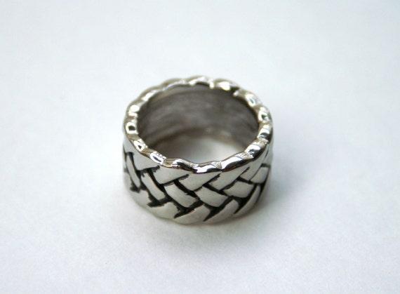 Vintage Men's Ring Silver Tone Braided Design