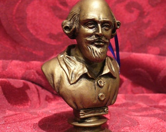 1966 classic-era SHAKESPEARE BUST Christmas Holiday Ornament