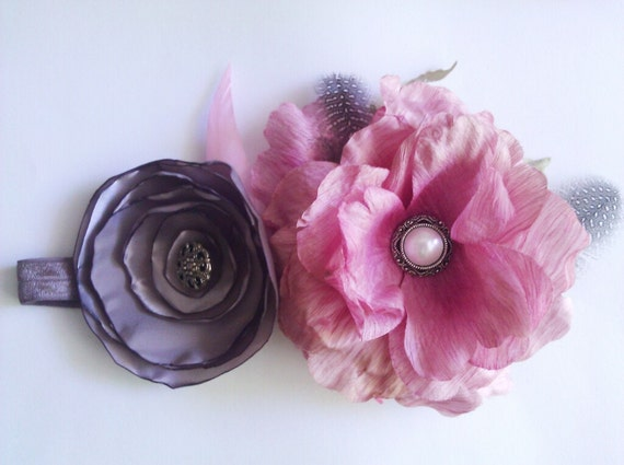 purple and pink flower headband, baby headband, photo prop, wedding