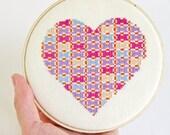 Patchwork heart cross stitch pattern PDF - pink, purple, orange, and blue