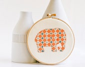 Cross stitch pattern PDF - Little elephant in orange and blue