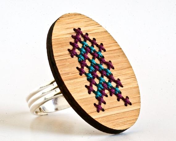 Modern Cross Stitch Adjustable Ring with Purple and Blue Chevron Design