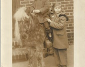 Patty Ann and Paul Traveling Pony Portrait - Vintage 1930s Horse Photograph