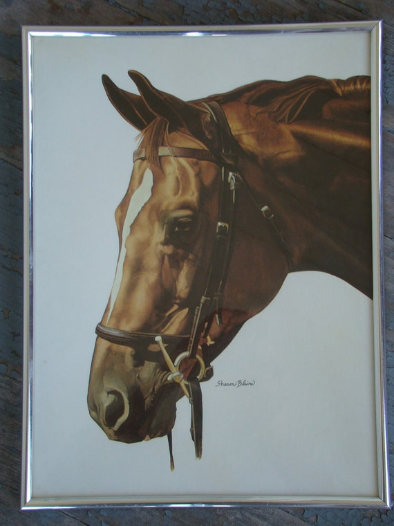 Watercolor Chestnut - Vintage Framed Sharon Blaine Horse Print