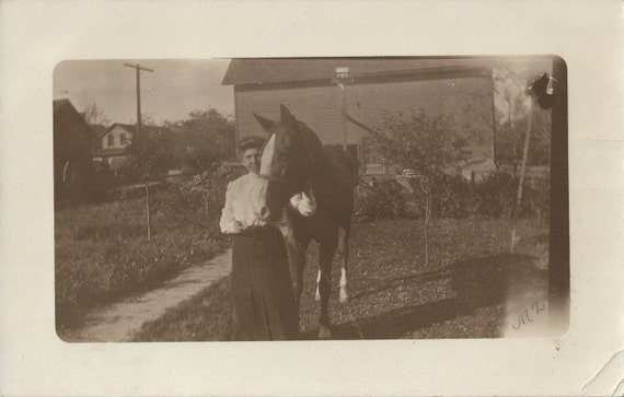 Hello You - Vintage 1911 Small Woman and Tall Horse Real Photo Postcard