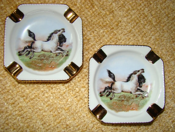 Black and Grey at Play - Two 1950 Vintage Porcelain Horse Ashtrays