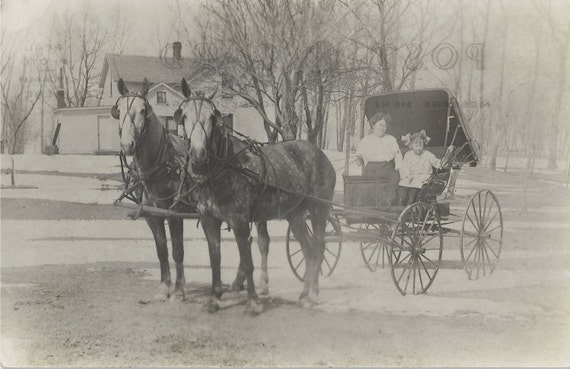 Dappled Duo in Snow - Vintage 1909 Horses and Buggy Real Photo Postcard