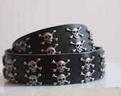 Black leather metal skull belt