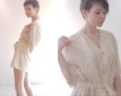 Cream white waisted blouse