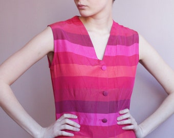Red pink striped blouse