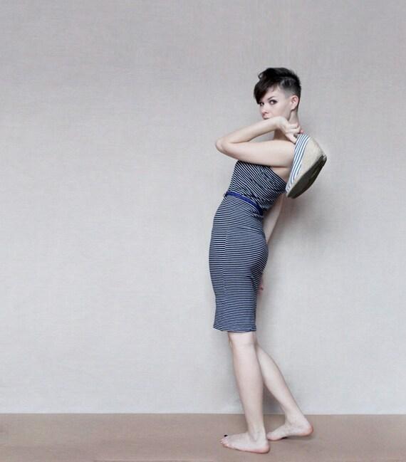 2 in 1 Nautical striped skirt or tube dress
