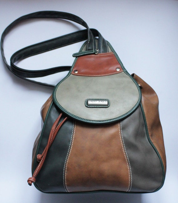 Vegan leather backpack greens and browns