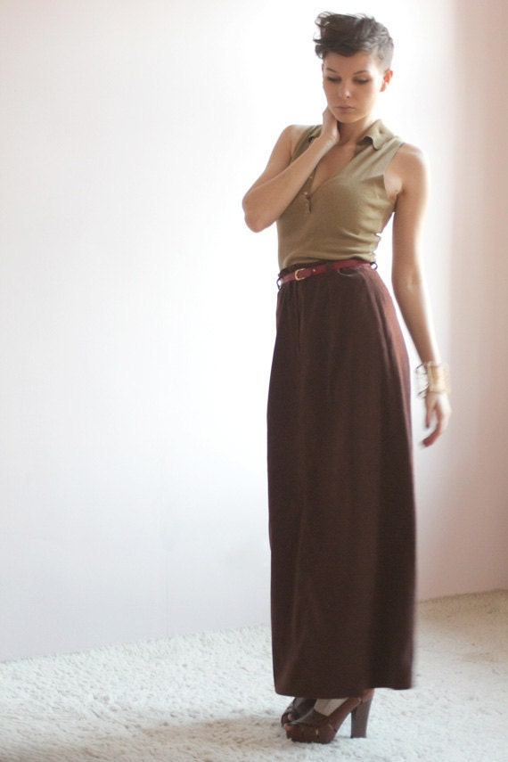 Boho brown maxi skirt