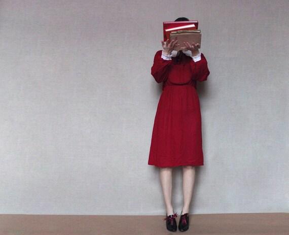 Wine red school dress