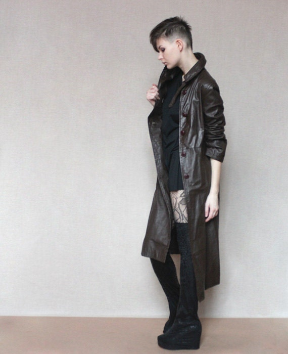 Long leather coat in dark brown