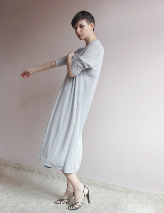 Simple long cardigan in light grey